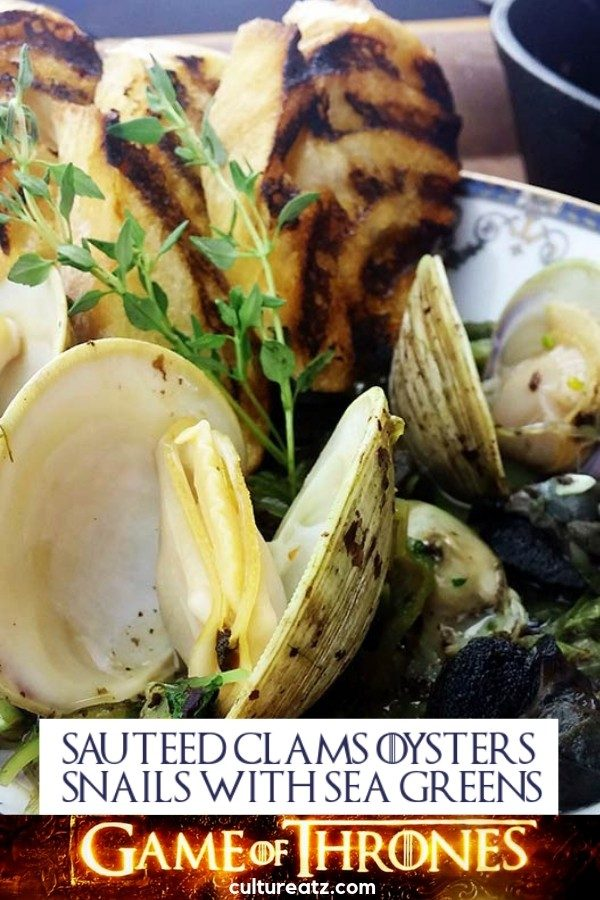 GOT Sauteed Clams Oysters and Snails with Sea Greens