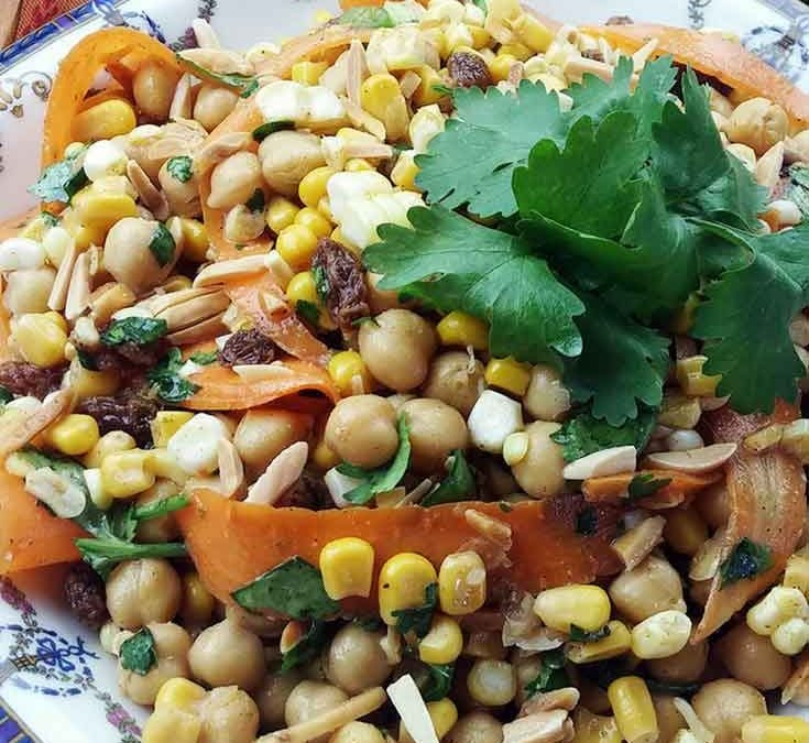 A Striking Moroccan Corn Chickpea Salad