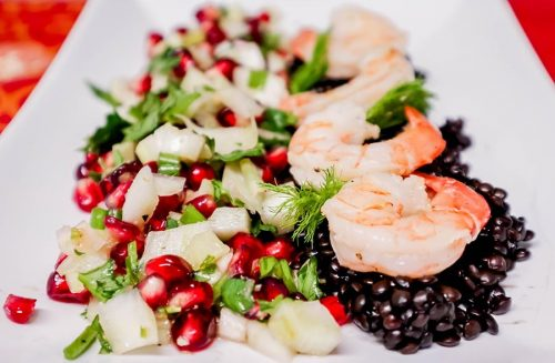 Featured Series Shrimp Bedded on Beluga lentils Snuggled by Pomegranate Fennel Salsa