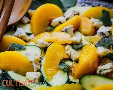 Peach Zucchini Salad with Sage Blue Cheese and a Citrus EspressoVinaigrette