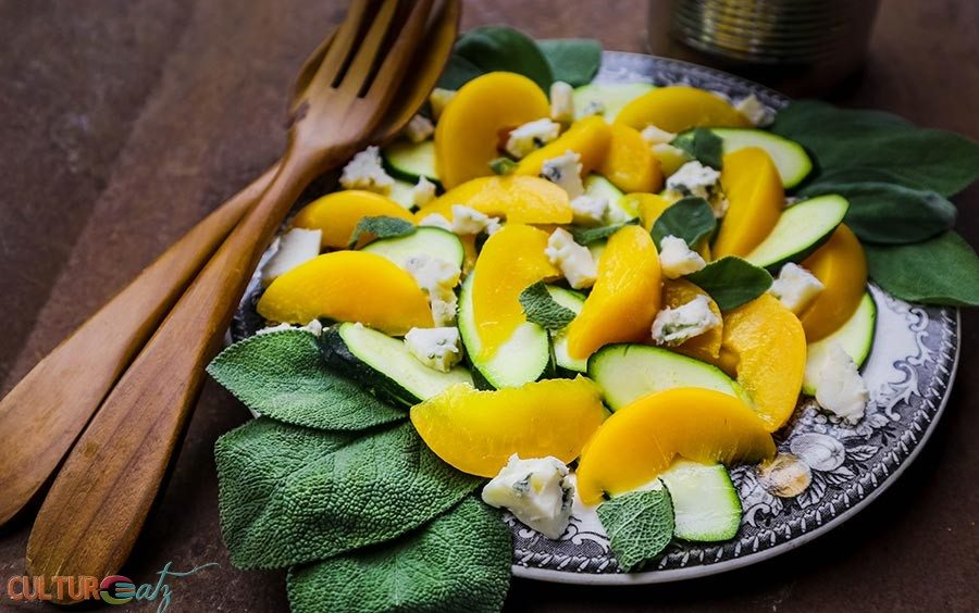 Peach Zucchini Salad with Sage Blue Cheese and a Citrus Espresso Vinaigrette
