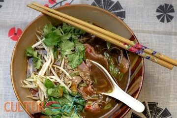 Vietnamese Beef Pho Play Soup with Coffee