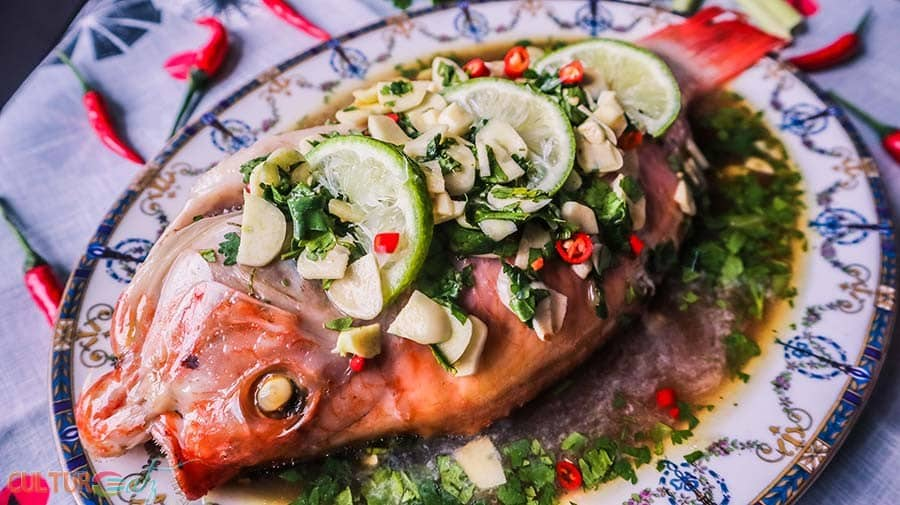 Thai Steamed Fish Recipe with Lime and Garlic Sauce