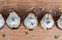 Ricotta Stuffed Baked Pear Halves in Chocolate Pie Crust and a Rosemary Glaze