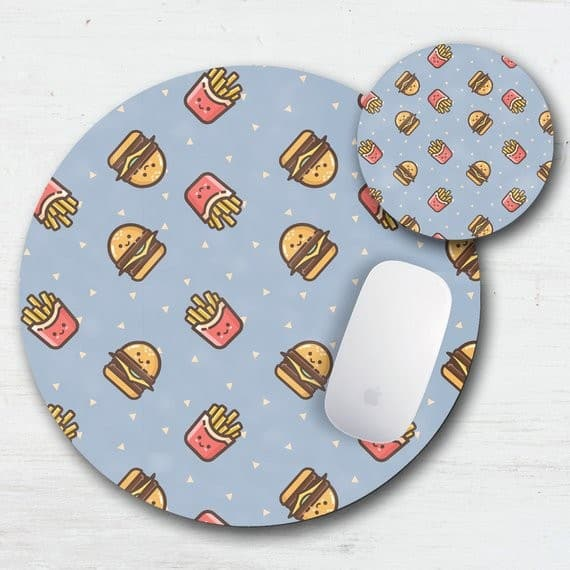 Burger And Fry Mouse Pad Coaster Set