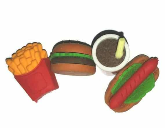 Junk Food Erasers School Supplies