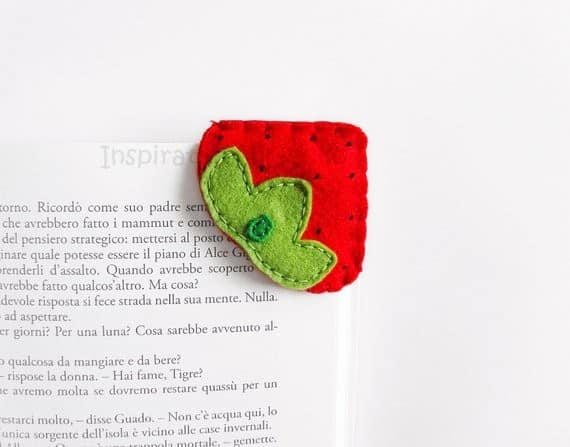 Strawberry felt corner bookmark