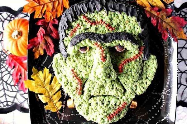 Frankenstein rice cereal treat