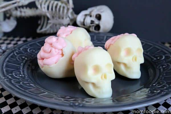 White Chocolate Skulls with Brains Mousse
