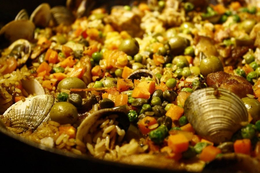 Food Clams Paella Peas Rice Carrot Oysters