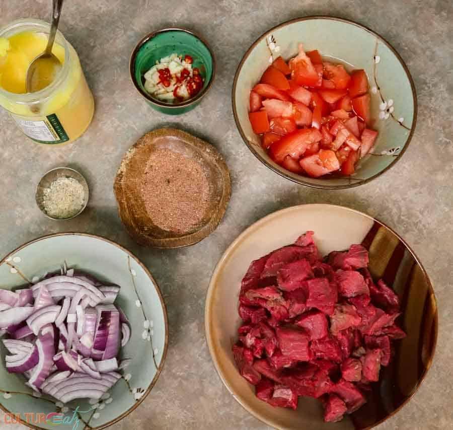 tibs Ethiopian Traditional Food ingredients