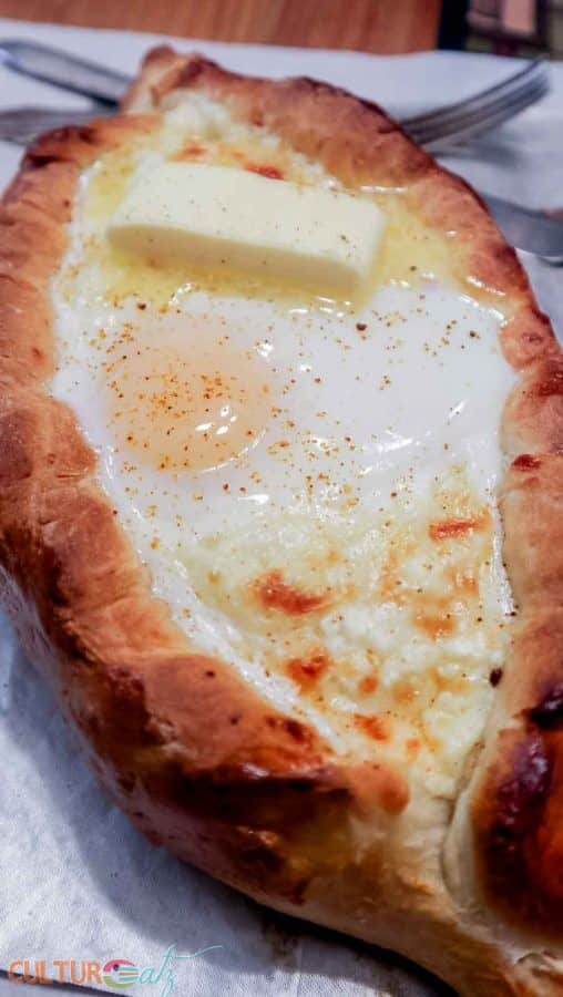 Acharuli Khachapuri Georgian Cheese Stuffed Bread close
