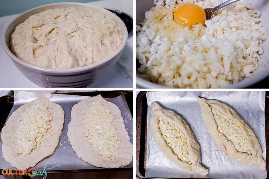making Acharuli Khachapuri Georgian Cheese Stuffed Bread