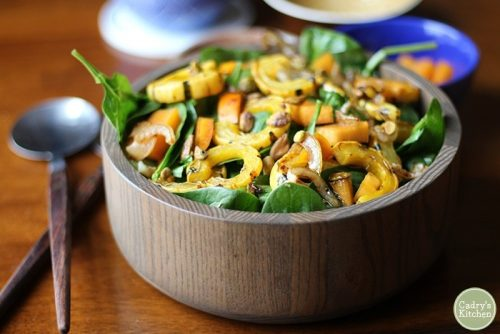 Autumnal Delicata Squash Salad with Persimmons