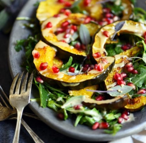 Roasted Acorn Squash Salad with Maple Cinnamon Tahini Dressing