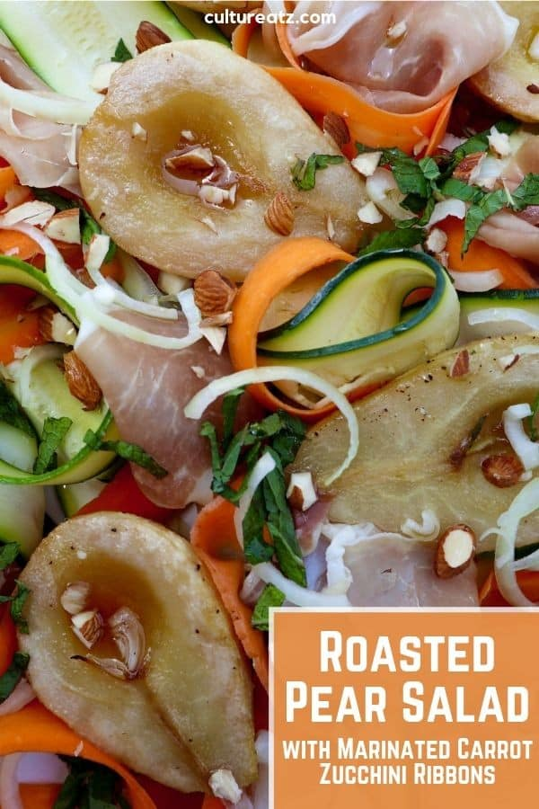 Roasted Pear Salad with Marinated Carrot Zucchini Ribbons