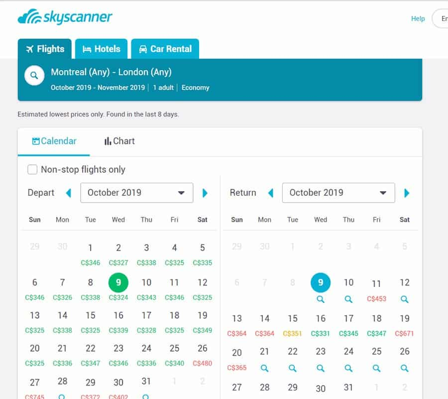 skyscanner Whole Month dates