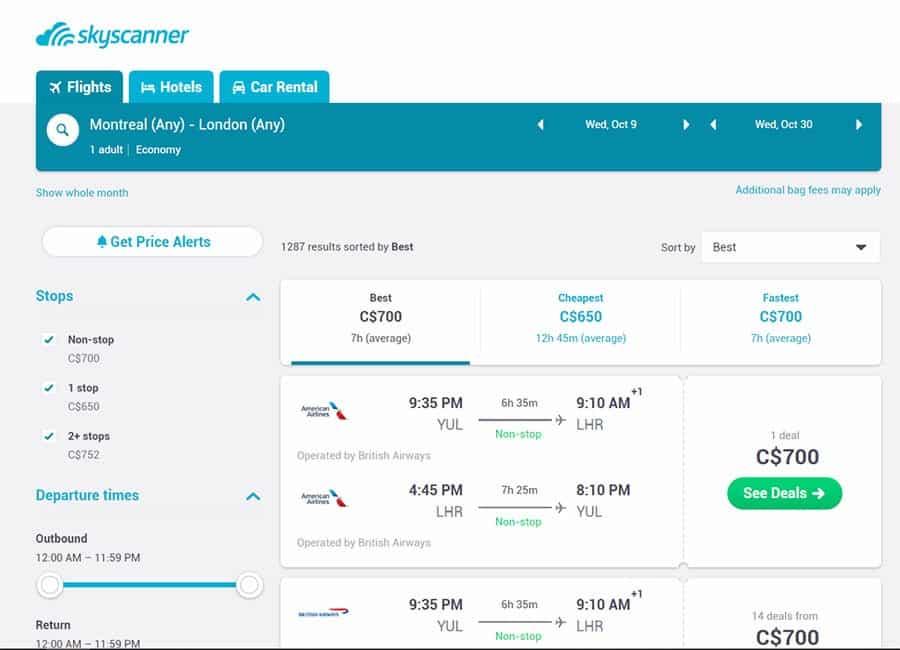 skyscanner fare results