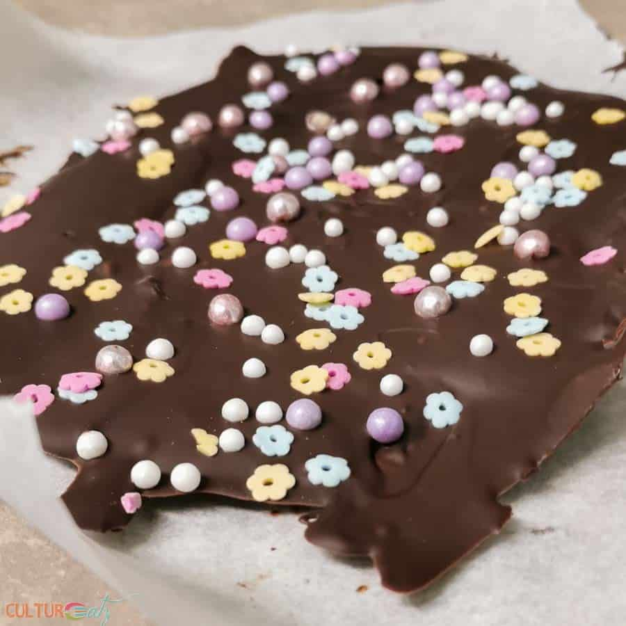 Chocolate Bark with Easter pastel sprinkles
