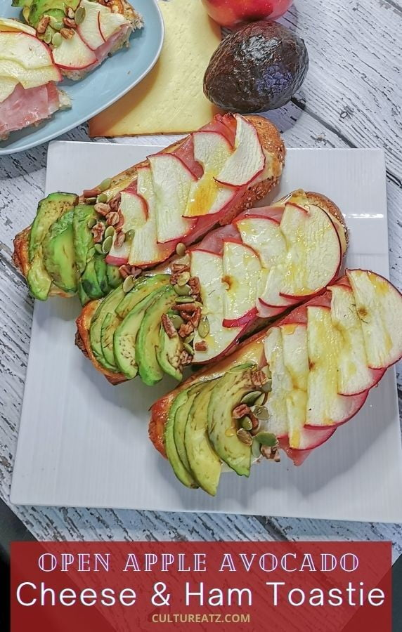 Open Apple Avocado Cheese Ham